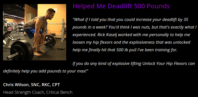 Unlock Your Hip Flexors 2.0 testimonial